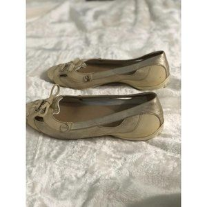 Tod's Ballerina Flats Loafers Beige Gold Size 8.5